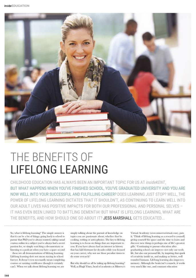 """Featured image for """"Inside Kent Magazine March Feature on lifelong learning"""""""