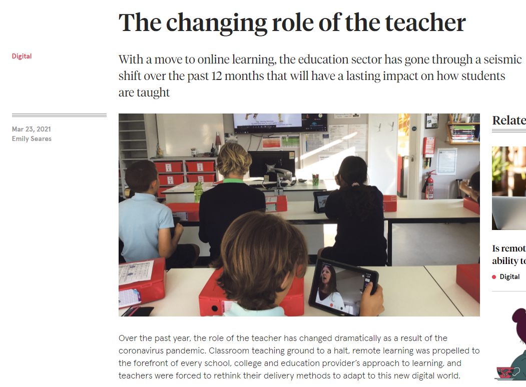 """Featured image for """"The Times 23 Mar The Changing Role of the  Teacher"""""""